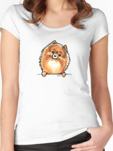 Red Pomeranian Paws Up Women's Fitted Scoop T-Shirt