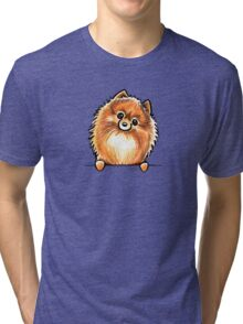 Red Pomeranian Paws Up Tri-blend T-Shirt