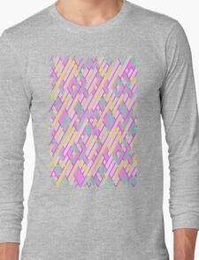 Geometric Lanes (Glam Pink/Yellow/Teal) Long Sleeve T-Shirt