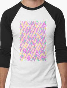 Geometric Lanes (Glam Pink/Yellow/Teal) Men's Baseball ¾ T-Shirt