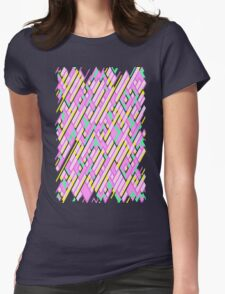 Geometric Lanes (Glam Pink/Yellow/Teal) Womens Fitted T-Shirt