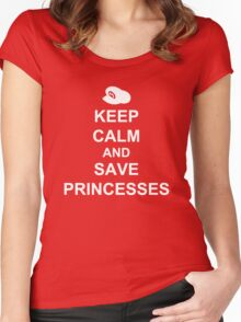 KEEP CALM AND SAVE PRINCESSES MARIO Women's Fitted Scoop T-Shirt