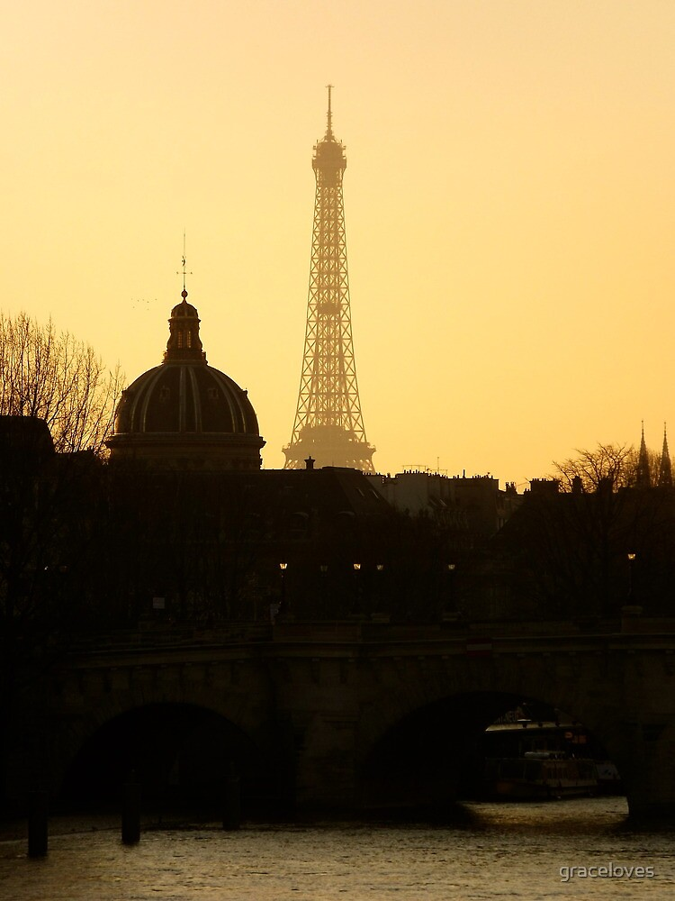 Paris sunset Eiffel Tower by graceloves