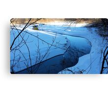Winters blue winding river Canvas Print
