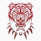 Fierce Tribal Bear T-Shirt Design (RED) by chief9928