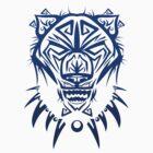 Fierce Tribal Bear T-Shirt Design (Dark Blue) by chief9928