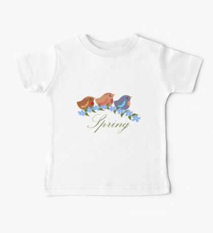 Three Baby Birds, Blue Flowers and Text Baby Tee