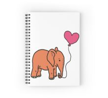 elephant with heart balloon Spiral Notebook