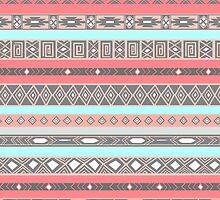 Peach Rose Baby Blue Aztec Pattern by RexLambo