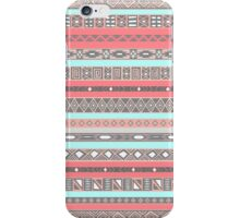 Peach Rose Baby Blue Aztec Pattern iPhone Case/Skin