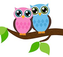 Pink and Blue Owls by heartlocked