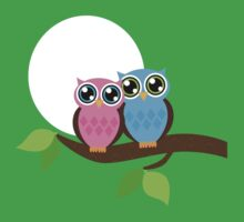 Pink and Blue Owls One Piece - Short Sleeve