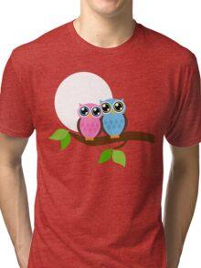 Pink and Blue Owls Tri-blend T-Shirt