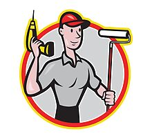 House Painter Paint Roller Handyman Cartoon by patrimonio
