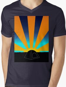 Sunrise Over A Tent Mens V-Neck T-Shirt