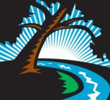 Pecan Tree Winding River Sunrise Retro Sticker