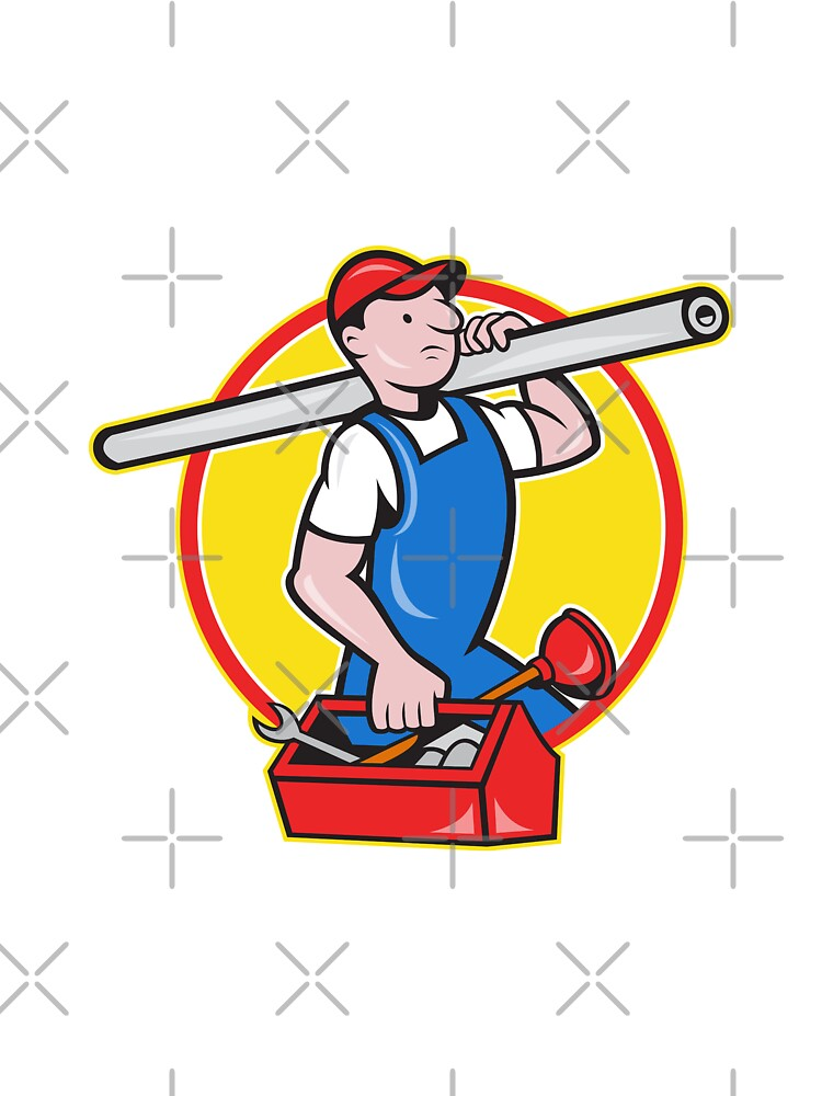 Plumber With Pipe Toolbox Cartoon by patrimonio