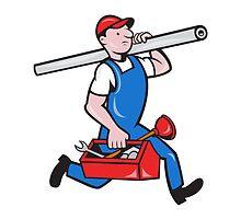 Plumber With Pipe Toolbox Cartoon by patrimonio