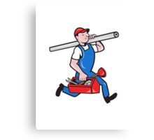 Plumber With Pipe Toolbox Cartoon Canvas Print