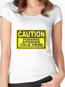 CAUTION FISHING T SHIRT Women's Fitted Scoop T-Shirt
