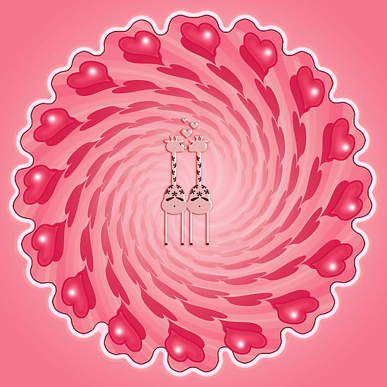 Pink Giraffe Lovers by vivendulies