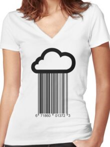Barcode Cloud Women's Fitted V-Neck T-Shirt