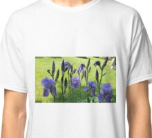 Purple iris with a bright spring green background Classic T-Shirt