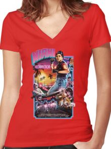 Miami Connection Poster Shirt Women's Fitted V-Neck T-Shirt
