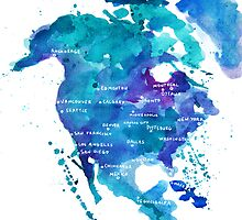 Watercolor Map of North America by Anastasiia Kucherenko