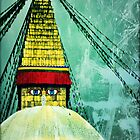 Buddha Stupa Green by Dan Bronish