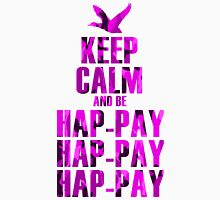 Keep Calm and be Happy Happy Happy (Pink Camo) Womens Fitted T-Shirt