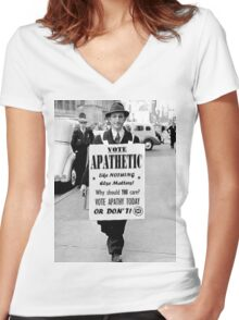 VOTE APATHY! Or don't. Women's Fitted V-Neck T-Shirt