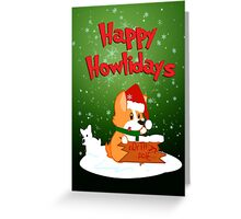 Happy Howlidays - Green w/ Text Greeting Card