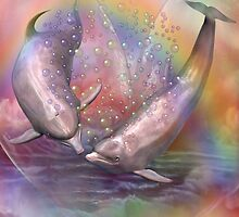 Dolphins - Love Bubbles by Carol  Cavalaris