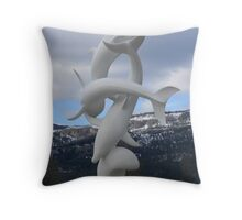 Kelowna Dolphin Statue Throw Pillow