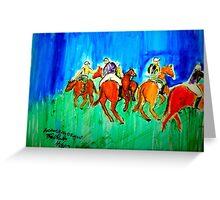 AnOther OReilly ORiginal Painting  Mr O Riding Polo Ponies At Santa Barbara Polo Club  Greeting Card