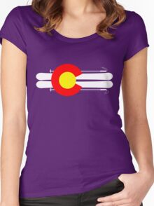 Colorado Flag Skis Women's Fitted Scoop T-Shirt