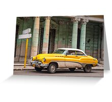 Yellow classic American car. Greeting Card