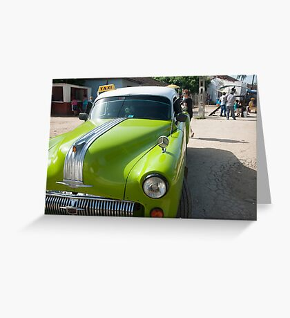 Classic American car in Cuba. Greeting Card