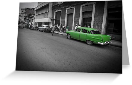 Green classic American car in Cuba. by brians101