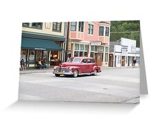 Classic American Car parked in Skagway street, Alaska. Greeting Card