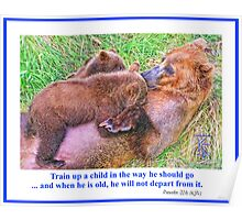 Brown Bear and Cubs Poster