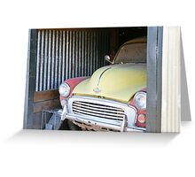 Morris Minor car painted pink and yellow Greeting Card