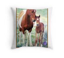 Wild Mare and Foal Throw Pillow