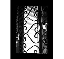 Vintage Heart-Shaped Wrought Iron Window Display Security Gate - Port Jefferson, New York Photographic Print