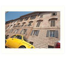 Bright yellow classic Fiat 500 in Italian street. Art Print