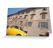Bright yellow classic Fiat 500 in Italian street. Greeting Card