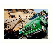 Green classic Fiat truck parked in Italian Street. Art Print