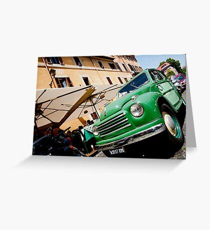 Green classic Fiat truck parked in Italian Street. Greeting Card