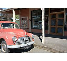 Old, unloved, Morris Minor parked in street. Photographic Print